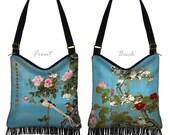 Hobo Bag Purse Hippie Bag  Crossbody Purse Boho Bag Bohemian Gyspy Bag Fringe Purse, Japanese Floral Art bag Asian Bird blue pink red  MTO
