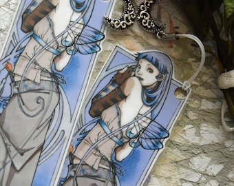 Bookmark - Laminated - Charm - Fairy - Fantasy - Art Nouveau - Moon - Lunar Queen
