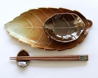 Ceramic Sushi Set, Hand Built, Beautiful Leaf Design
