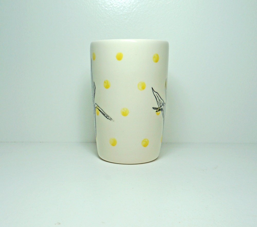 18oz tumbler or vase with an Ear of Corn print shown here on Yellow Polkadots, Ready to Ship