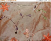 CLEARANCE Light brown embroidered fabric 40 x 48 inches