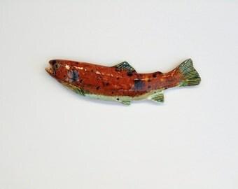 Ceramic trout decorative fish wall hanging