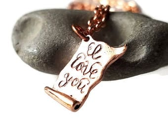 I love you Love Letter Personalized copper necklace, Love letter jewelry, Letter for your wife, Letter for Bride, romanza jewelry
