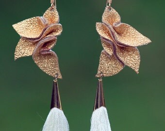 Silk + Leather Petals Statement Earrings + ivory tassel drops - Gold lambskin - long dangle - OOAK