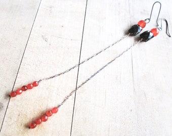 Faceted Super Long Gemstone Earrings - Garnet - Carnelian - Sterling Silver - Blackened - Etsy Jewelry - catROCKS - Shoulder Sweeper  Orange