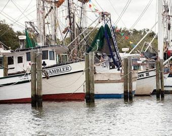 Nautical Decor, Boat Photography, Shrimp Boats, Boat Landscape Photo,  Marina Photography,