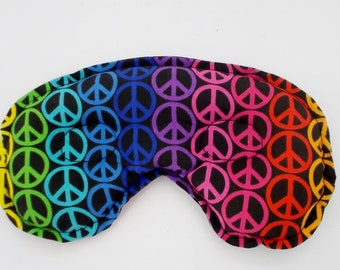 Peaceful Relief for Headache, Sinus and Stress Relief Mask - Rainbow Peace Sign Design