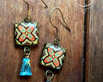 California Tile earrings, Mission style, Drop earrings, California Pottery design jewelry, Boho jewelry, Gypsy jewelry, Chandelier Earrings
