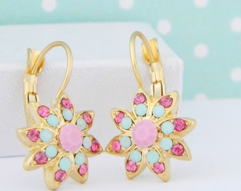 Victorian Floral Pale Pink Mint Swarovski Leverback Earrings