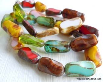 Czech Glass Bead 17mm Table Cut Bead - Multi Color Picasso Assortment - 10 Beads (WW - 86)