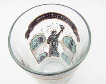 New York City Mid Century Drinking Glass Souvenir Gold Turquoise Blue Statue of Liberty Empire State Building