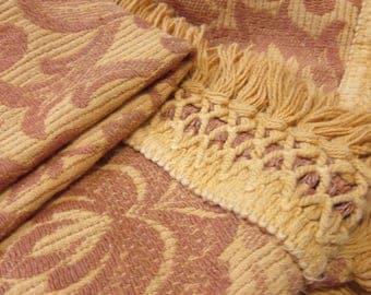 Vintage 70s Table Cloth Gold Fringe Round Brocade Style Design Hippie
