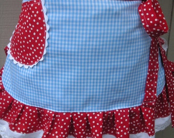 Womens Aprons - Dorothy of Wizard Of Oz Apron - Dorothy Apron - Wizard of Oz Apron - Red Aprons - Blue Gingham Apron - Annies Attic Aprons