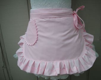 Womens Pink Aprons - Pretty in Pink Apron - Blush of Pink Apron - Handmade Pink Half Apron - Annies Attic Aprons - Pink Womens Half Aprons