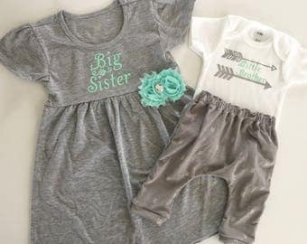 Big Sister Little brother OUTFITS .. Shabby chic mint aqua green and grey dress and onesie  arrows pants set. new baby..baby shower