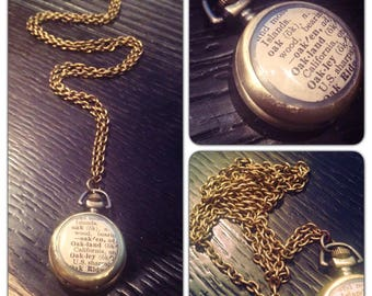 """Oakland Dictionary Cut-Out Watch Necklace - Brass Pocket Watch Necklace - 1.75"""" round - 30 inch long- Real working watch - SMALL"""