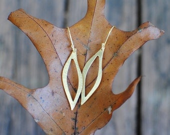 Leaf Brushed Gold Earrings. Gold Plate Ear Wires.