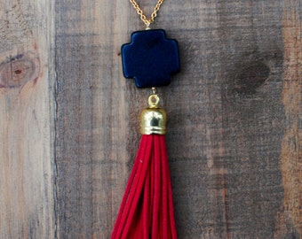 Black & Garnet Tassel Necklace