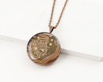Copper Circuit Board Necklace - Recycled Computer Circuit Board Jewelry - Gift for Her - Stocking Stuffer