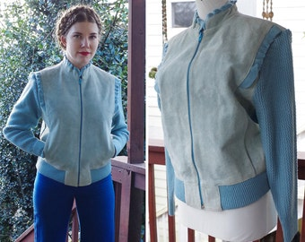 Powder BLUE 1970's 80's Vintage Light Blue SUEDE Leather Sweater Jacket w/ Ruffled Edges // size Medium // by SHEPLERS