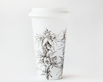 Black and White Ceramic Travel Mug - Cannabis Plant | Drawing Collection