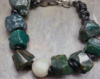 Raw Bloodstone Bracelet, Talisman of Courage, Knotted Pearl and Leather Jewelry