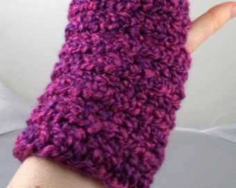 Purple and Hot Pink Crocheted Wrist Warmers (size M-L) (SWG-WW-MH14)