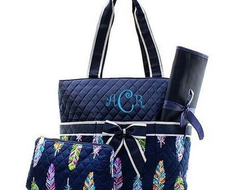 Personalized Diaper Bag - Feather Diaper Bag - Navy Diaper Bag - Monogrammed Diaper Bag - Personalized Diaper Bag - Quilted Diaper Bag