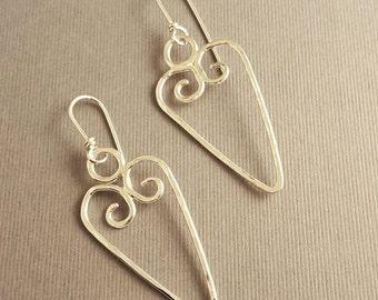 Spiral Heart Wire  Earrings