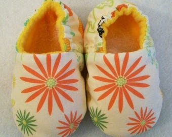 Baby Girls Garden Floral soft fabric shoes, handmade, Baby Shower Gift, Made in the USA, #44