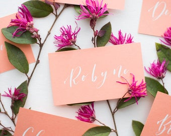custom calligraphy | flat escort cards or place cards