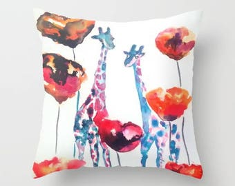 Red Poppy Pillow Giraffe Cushion Cover Gifts for Dad Giraffe Cushion Gifts for Best Friend Giraffe Decor Cute pillows for couch stylish