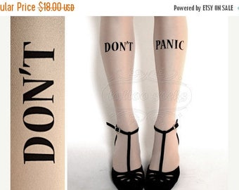 ON SALE/////// Don't Panic TATTOO gorgeous thigh-high stockings Ultra Pale