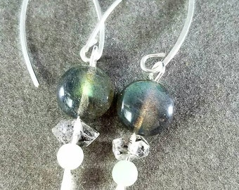 Seeking Clarity by Moonlight Labradorite, Herkimer Diamond, and Amazonite Earrings