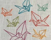 Paper Cranes - hand drawn and embroidered wall hanging