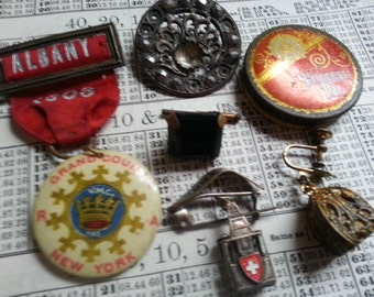 Repurpose Jewelry ... Antique Badge Pins Shabby Steel Button ... Jewelry Supply, Steampunk. AS FOUND.