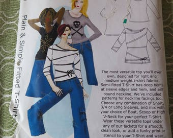 HotPatterns.com Plain & Simple Fitted T-Shirt Sewing Pattern sizes 6-14 UNCUT