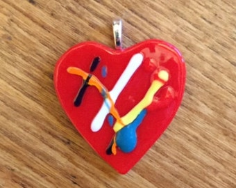 Red Fused Glass Heart Pendant With Black Silk Necklace