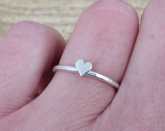 Heart Ring Sterling Silver Hammered Ring with Heart Add On Stackable