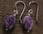 Charoite earrings, genuine rare oval charoite stones handmade silver earrings