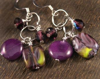 Purple aventurine stone, czech marbled glass beads, swarovski crystal silver rings handmade earrings