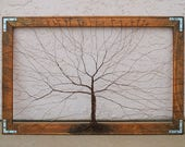 Framed tree wall art / wire sculpture Unique Art Decor Tree Abstract Sculpture / original artwork / large wall art / trees wall decor