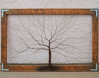 Framed tree wall art / wire sculpture Unique Art Decor Tree Abstract Sculpture / original artwork / large wall art / trees wall decor