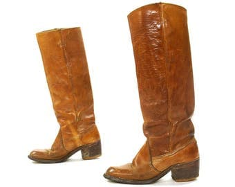 Bort Carleton Boots / Vintage 1960s 1970s Brown Leather Campus Boots / Pull On Knee High Tall Western Biker Riding Boots / Womens Size 7