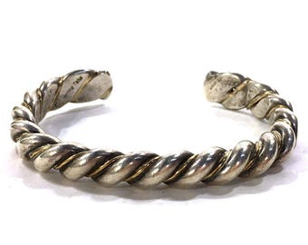 """Signed Navajo Sterling Silver & Gold Fill Twist Cuff / Vintage Thick Heavy Native American Indian Cable Rope Bracelet Signed Tahe 6.5"""" Wrist"""