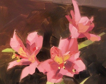 MY THREE GIRLS original oil painting of pink flowers