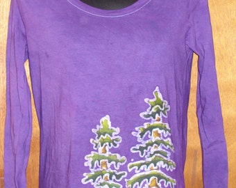 Women's Handmade Batik Redwood tree tops and tee