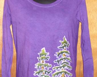Women's Handmade Batik Redwood tree tops and tee