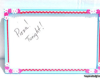Dry Eraser Board, Pink and Blue White Board, White Bulletin Board, 17X11 Dry Eraser Board