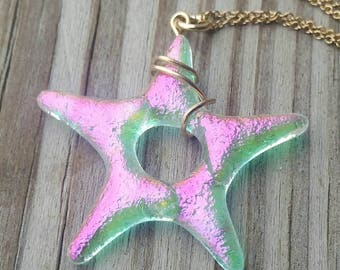 Little Star Pink Dichroic Glass Star Pendant Necklace on Gold Filled Chain